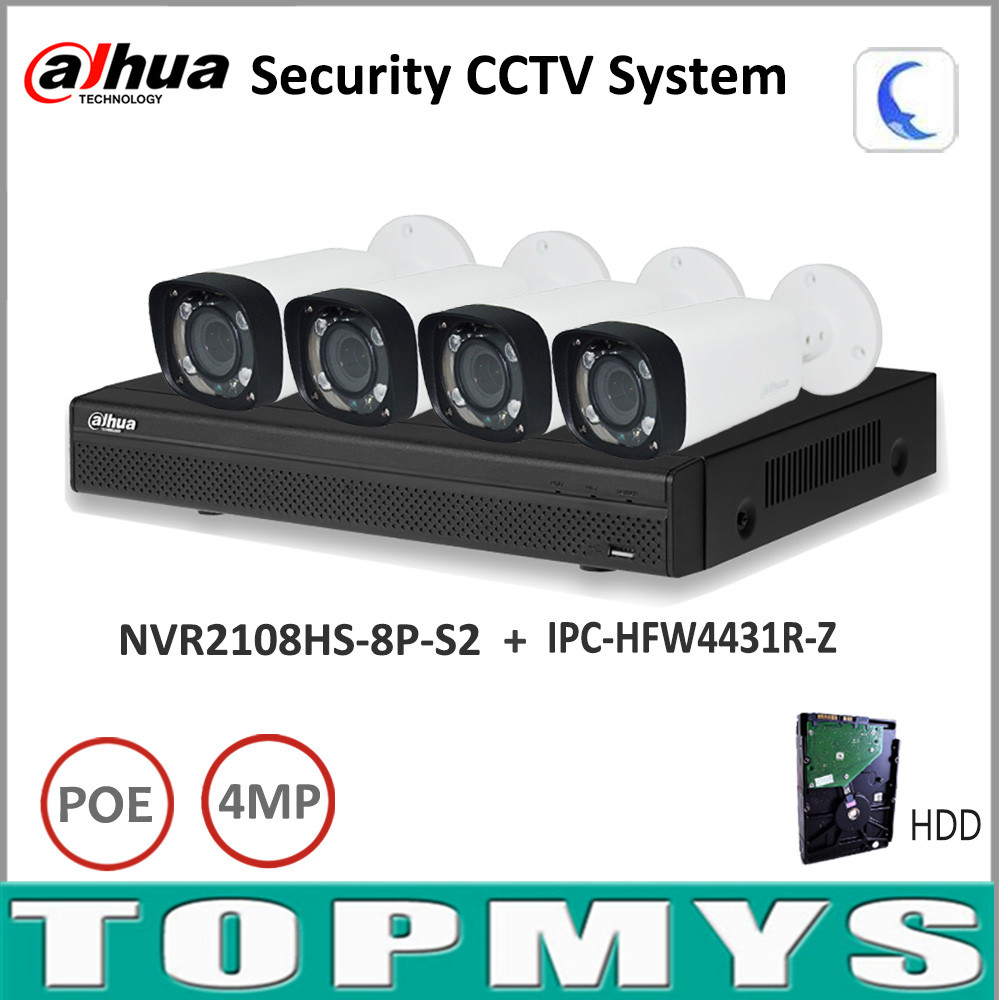 NVR2108HS-8P-S2 Motorized Zoom Camera IPC-HFW4431R-Z P2P Dahua Full HD IP Camera nvr Kit with 2TB HDD