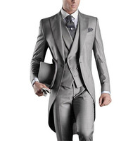 Best Selling 2019 Custom Mens Suits Italian Tailcoat Gray Wedding Suits For Men Groom Mens Tuxedo Suits (Jacket+Pants+Vest)