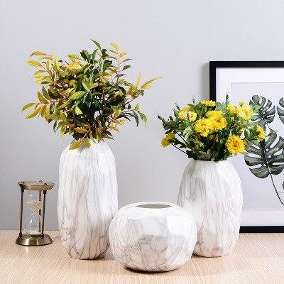 Marble style ceramic vase creative ceramic vase modern geometric home decoration