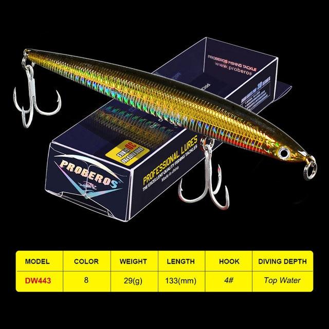 """1 PC haut crayon leurres de pêche 13.3 cm-5.24 """"/29g-1.02 oz 8 couleur 4 # BKB crochets bar appât de pêche leurre"""