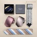 Известный Бренд Галстуки Для Мужчин Мода Дизайнеры Роскошные 7 см мужская галстуки Мужчин Галстук Розовый Градиент Постепенное Изменение Повседневная Галстуки Подарок коробка
