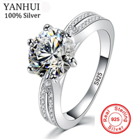 YANHUI Anti Allergy No Fade Original Natural 925 Silver Rings For Women Round 8mm AAAAA SONA