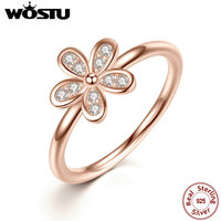 WOSTU Brand 100 925 Sterling Silver Rose Gold Plated Dazzling Daisy Wedding Rings For Women Fashion