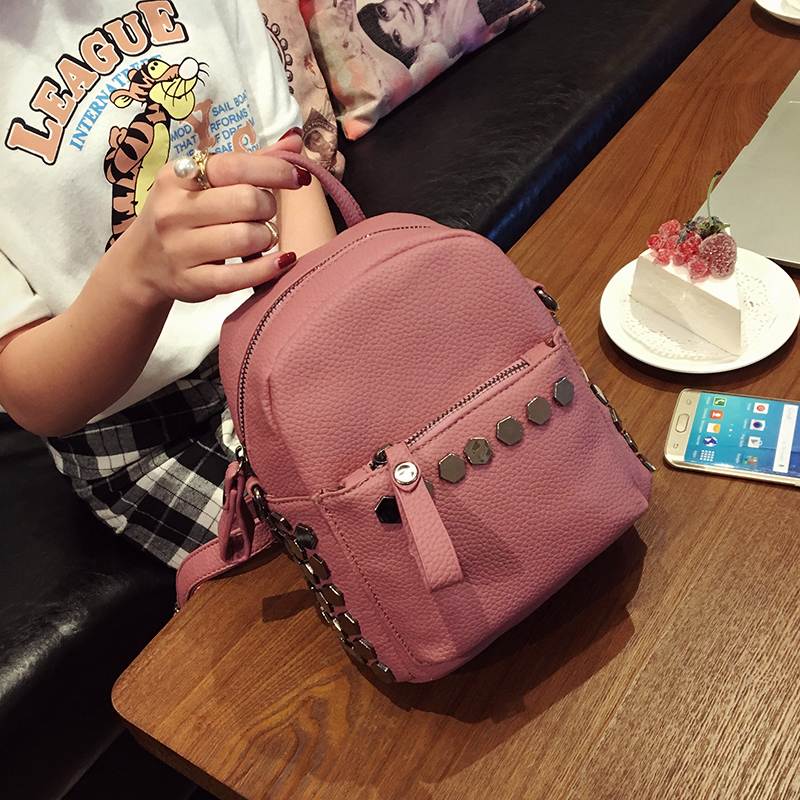 New women mini backpack 2016 tide fashion institute of rivet wind leisure small bag fashionvintage casual