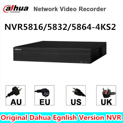 Dahua 16/32/64CH 2U 4K H.265 Network Video Recorder NVR5832-4KS2 NVR5816-4KS2, NVR5864-4KS2 free DHL shipping