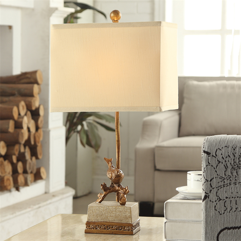 Simple Retro Classical American Country Resin Fabric Led E27 Bird Table Lamp For Bedroom Living Room Study Deco H 58cm 110-220v odd ranks yield retro furniture living room coffee table corner a few color seattle bedroom nightstand h