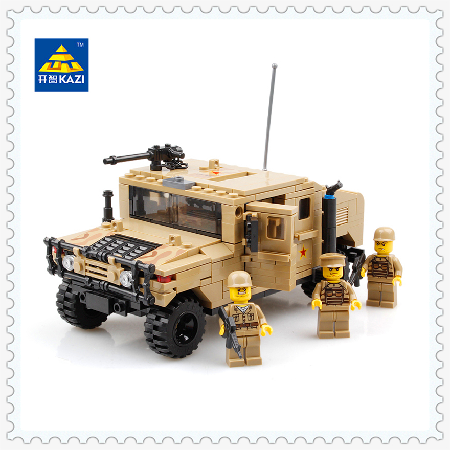 420Pcs Building Block Compatible Legoe Toys Military War Vehicle Hummer Model KAZI 98403 Figure Brinquedos Gift For Children kazi large military 1463pcs 2in1 tank hummer building blocks bricks army war models toys for boys children compatible lepin