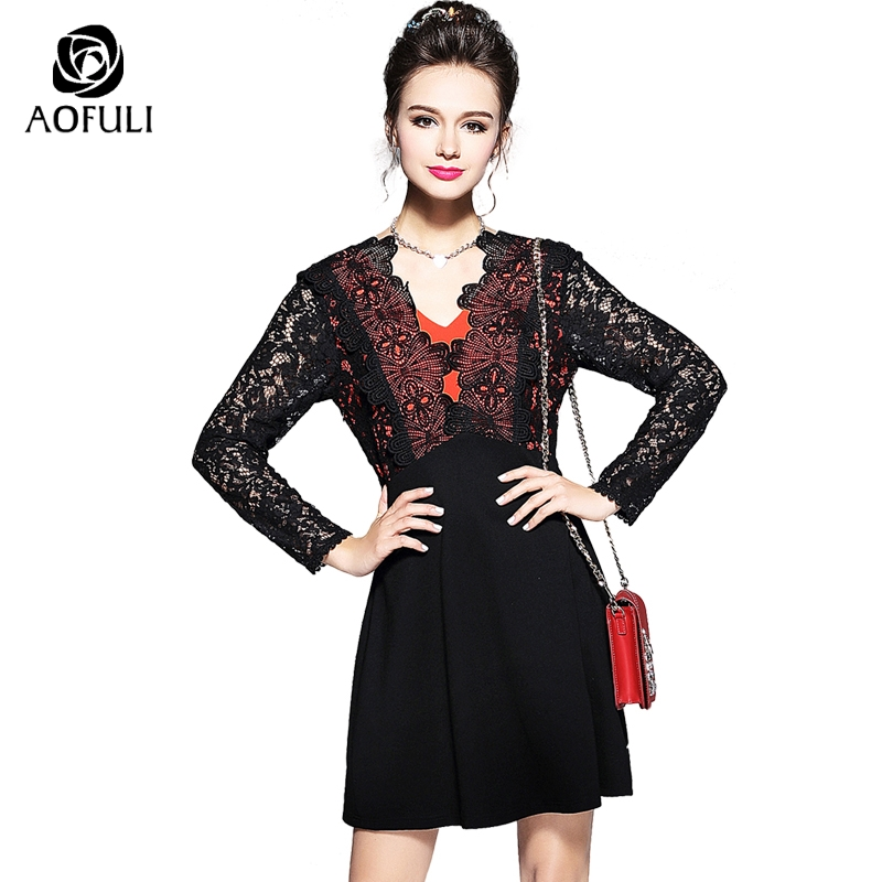 S 4XL 5XL Women Big Size Sexy Lace Up Dresses Hollow Out Floral Embroidery Patchwork Dress Black Autumn Long Sleeve Vestido 5729-in Dresses from Women's Clothing    1