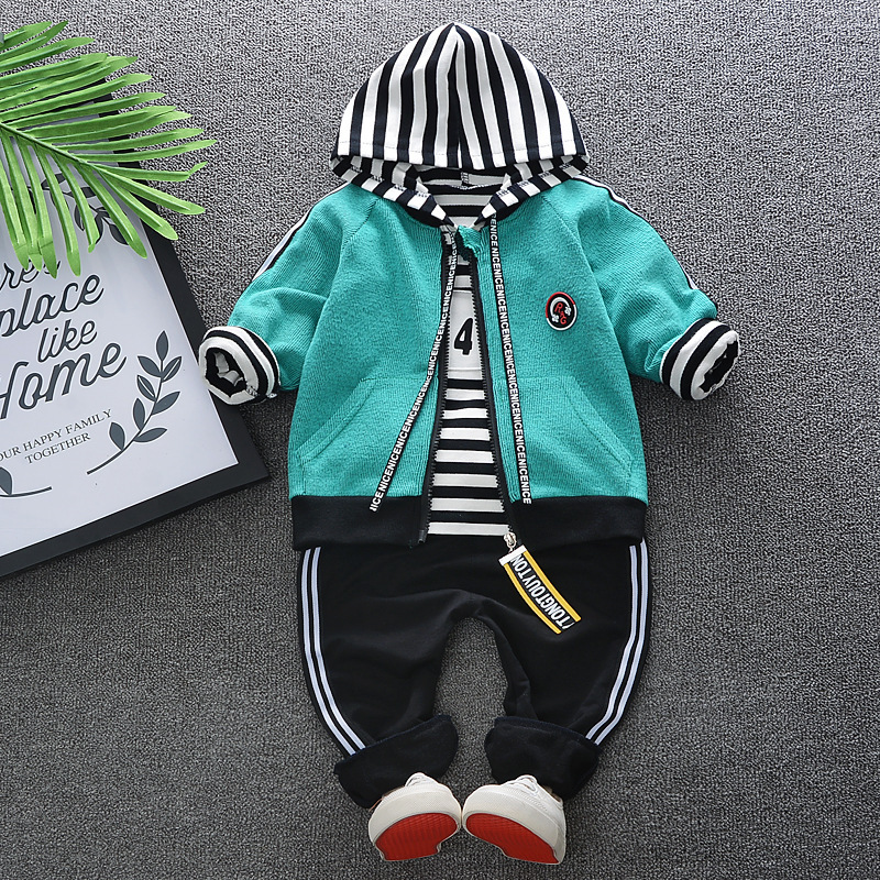 Baby Boy Clothing 2018 Spring Autumn Korean Casual Hooded Shirt + Jacket+Pants 3PCS Bebes Jogging Suit Tracksuits Roupa Infantil
