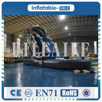 Free shipping 0.55mm PVC 7*3.5*5m giant inflatable slide jumping bouncing tarpaulin outside water pool games
