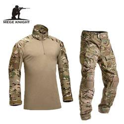 Тактический военная форма одежда армия военная Униформа боевой униформа брюки для девочек с наколенниками камуфляжная одежда
