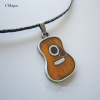 CMajor Guitar Necklace Country Music Necklace Leather Rope Necklace Couple Necklaces For Valentine S Day Guitar