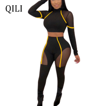 QILI New Fashion Bodycon Women Jumpsuits Overalls Long Sleeve Mesh Patchwork Sexy Jumpsuit Skinny Pants For