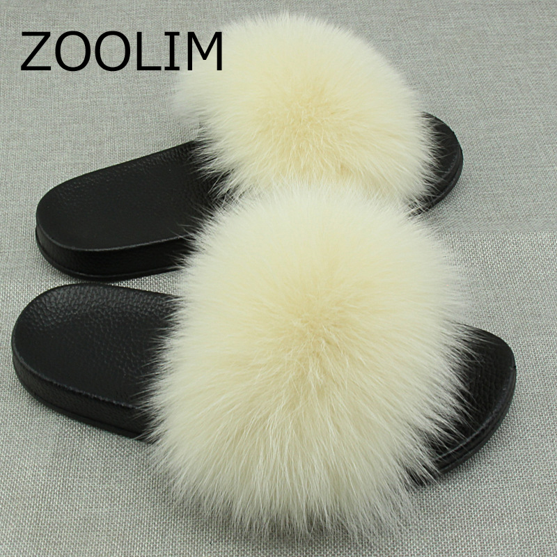 ZOOLIM Women Casual Slippers Autumn Flip Flops Real Fox Fur Fluffy Slides Mix Colors Furry High Quality Plush Non-slip Shoes