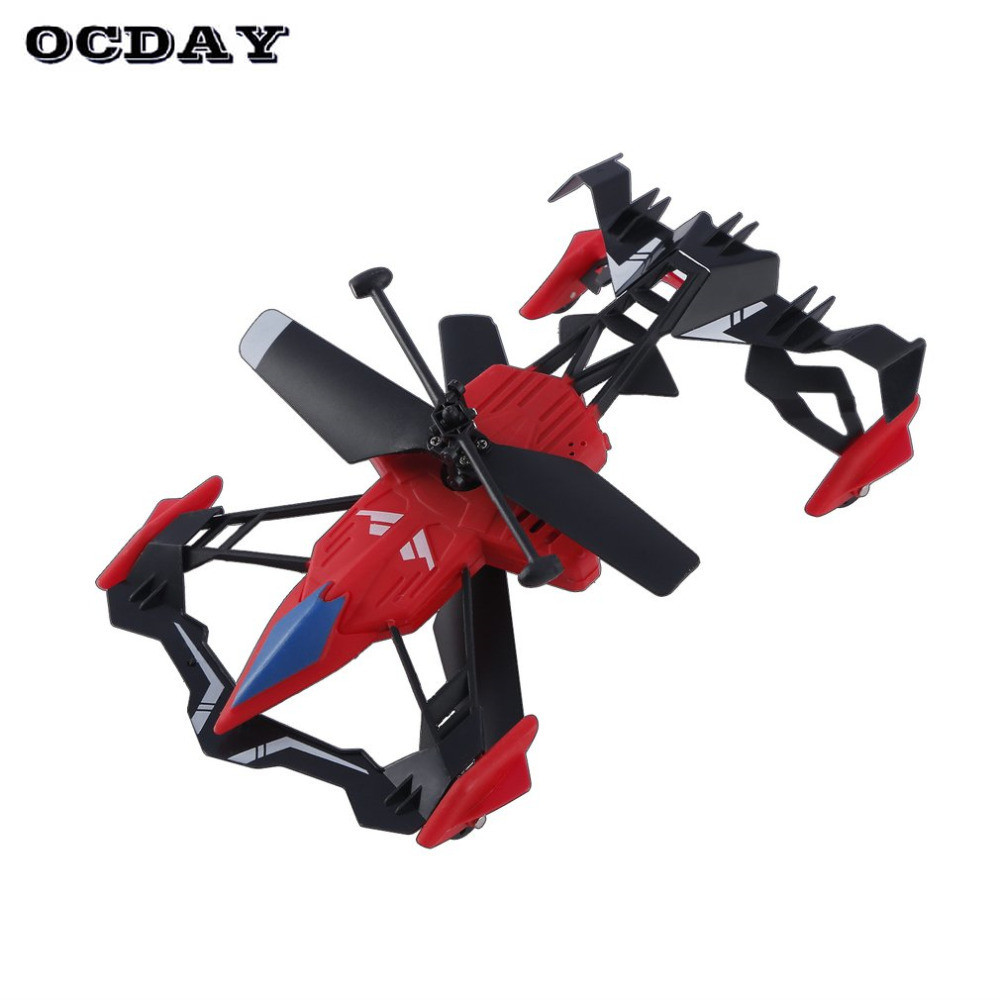 OCDAY 2 in 1 Remote Control Flying Car RC Drone Air-Ground 3D Flip Mini Quadcopter Car Toys For Children Birthday Xmas Gifts