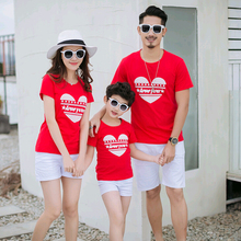 LOVE YOU Family Matching Outfit Cotton T shirts Set Mother Daughter Father Son shirt Clothes Clothing 3XL GL23