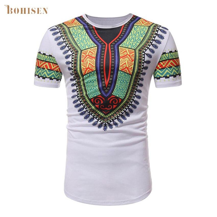 BOHISEN African Men Clothing Dashiki Hip Hop Slim African Traditional Print T-shirt Formal Dress Short Sleeve Male Clothes