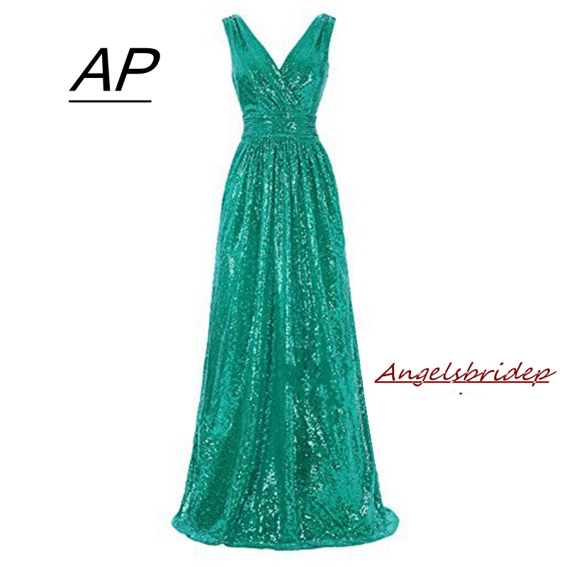 ANGELSBRIDEP New Arrive Sequins Evening Dress Robe De Soiree 2019 Sexy V Neck Simple Plus Size