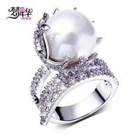 DC1989 Imitation Pearl Party Ring Platinum Plated Top Quality Cubic Zircon Environmental Friendly Material Lead