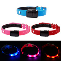 Solar Power LED Dog Lead Collar TPU Cat Collars Kitten Lead Necklace Solar Leather PU Pup