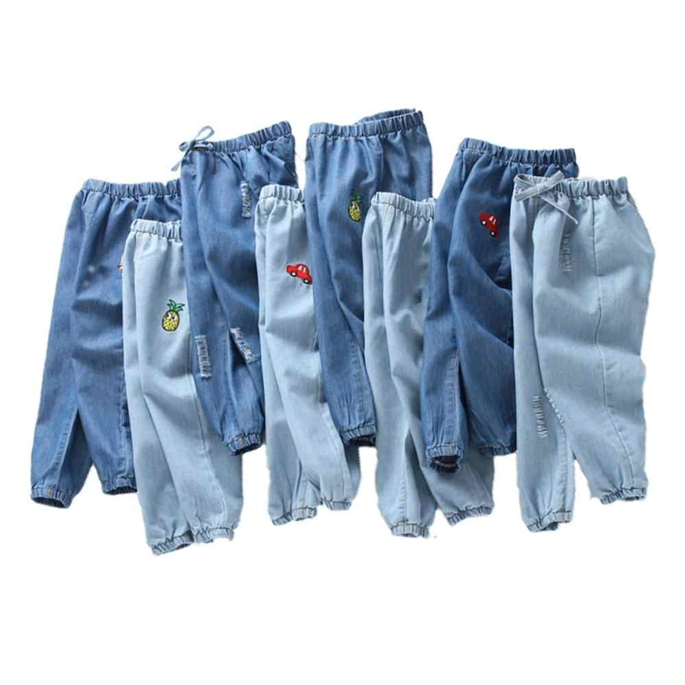 Kids Cartoon Trousers Pant Fashion Girls Waist Jeans Children Boys Hole Jeans Kids Fashion Denim Pants Baby Jean Infant Clothing