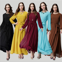 5 Colors Women Casual Muslim Abaya Dubai Dress 2016 New Fashion Baju Chiffon Islamic Malay Muslim