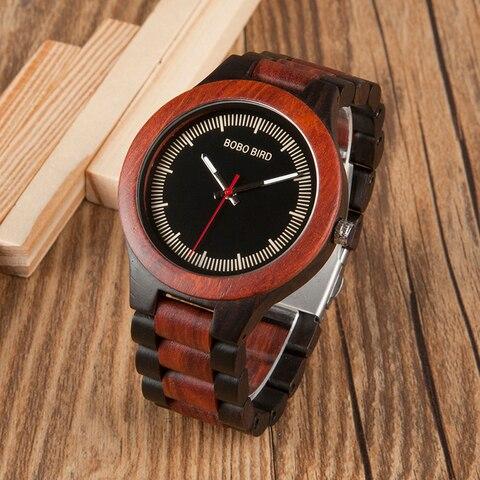BOBO BIRD Timepieces Men Wood Watches Luxury Handmade Quartz Watches Two-tone Wooden Drop Shipping Karachi