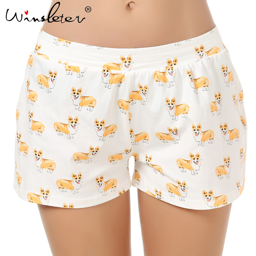 Cute Sleep Bottoms Knitting Cotton Pajama Shorts Women Corgi Print Elastic Waist Stretchy Loose Plus Size