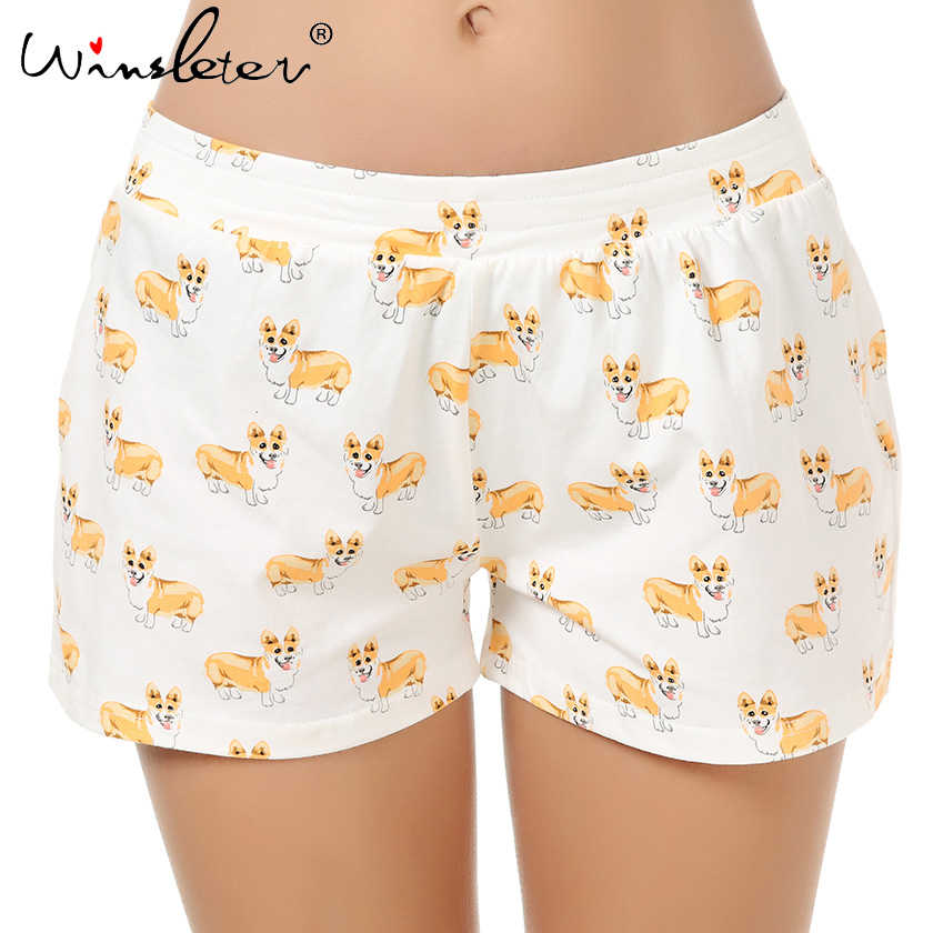 Ship From The US Corgi Print Cute Sleep Bottoms Knitting Cotton Pajama Shorts Women Multi Dogs Styles Elastic Waist Loose B61002
