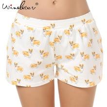Pantalones cortos de algodón con estampado de Corgi para mujer, pantalón corto de algodón para dormir, varios estilos, cintura elástica, holgados, B61002