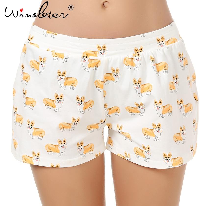 Cute Sleep Bottoms Knitting Cotton Pajama Shorts Women Corgi Print Multi Dogs Styles Elastic Waist Loose Plus Size S-XXL B61002