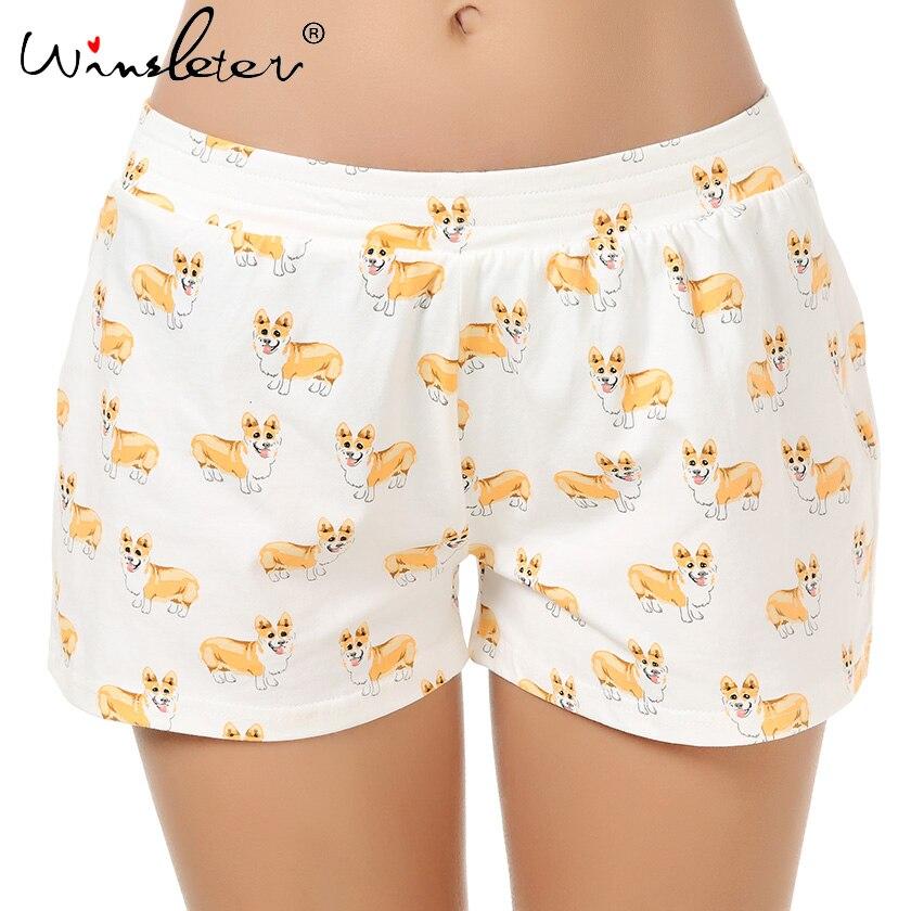 Ship From The US Corgi Print Cute Sleep Bottoms Knitting Cotton Pajama Shorts Women Multi Dogs Styles Elastic Waist Loose B61002