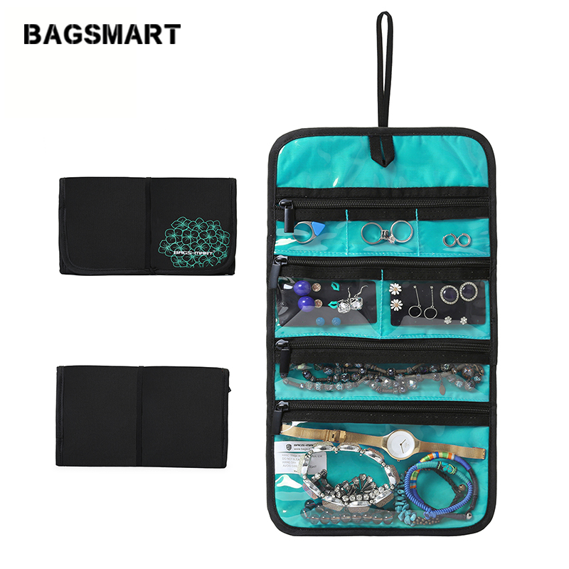 BAGSMART accessoires de voyage Roulant pochette à bijou porte-collier Boucle D'oreille Anneau Poche montre bracelet sacs à bijoux Voyage en Sac À Main