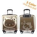 Прекрасный привет котенок багажа дети тележка дорожная сумка 18 дюймов мультфильм дети чемоданы привет китти сумка для девочек