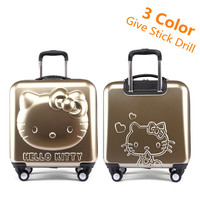 Lovely Hello Kitty Luggage Children Trolley Travel bag 18 Inch Cartoon Kids Suitcases Hello Kitty bag For Girls