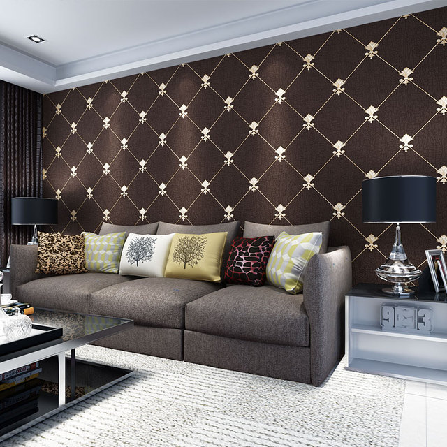 Modern Simple Geometric Wallpaper 3D Embossed Flocking Non Woven Wall Paper For Living Room TV