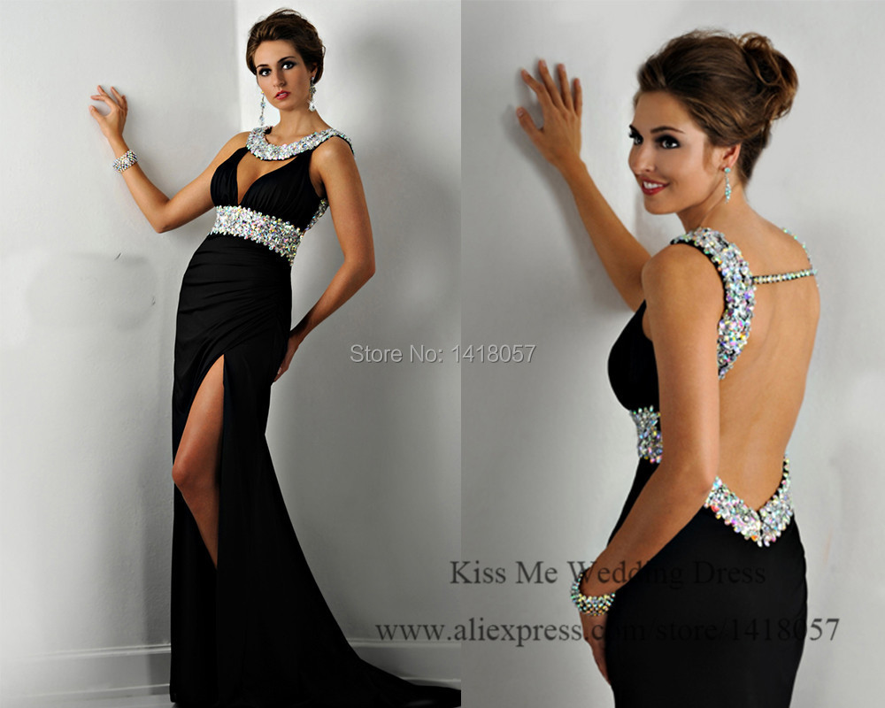 Sexy Elegant Black   Evening     Dress   2015 Vestido de Gala Mermaid Prom   Dresses   Backless Rhinestones Split Scoop
