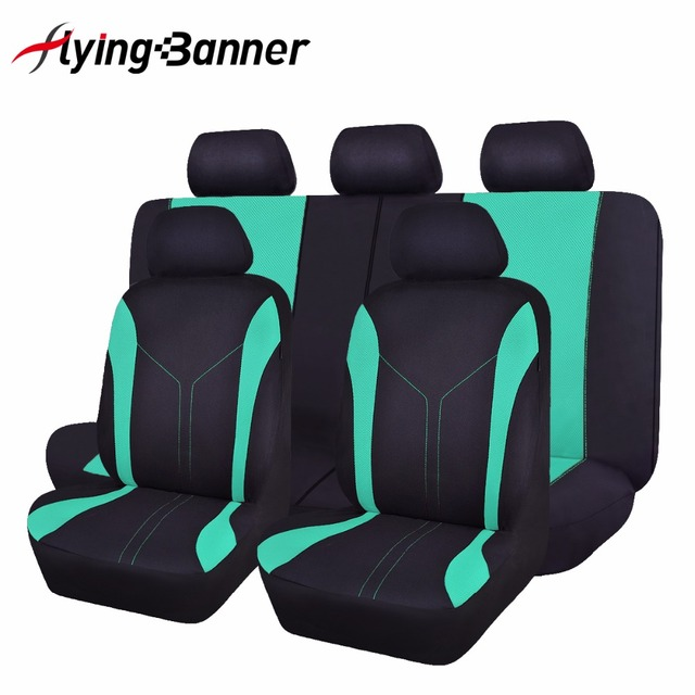 FlyingBanner Cute RAINBOW Color Green Car Seat Cover Universal Breathable Mesh Sandwich Cloth Covers