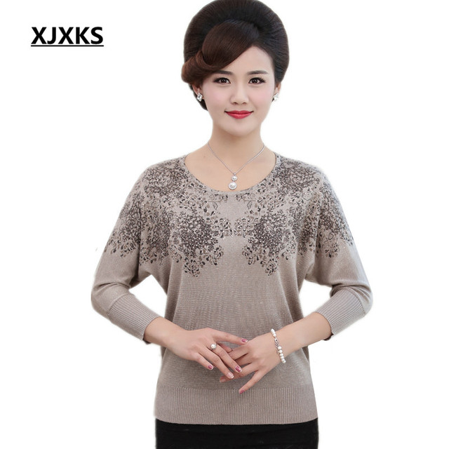 b965645541d4 XJXKS 2018 Spring and Autumn new womens sweaters and pullovers loose large  size bat sleeve printing fashion women s tops