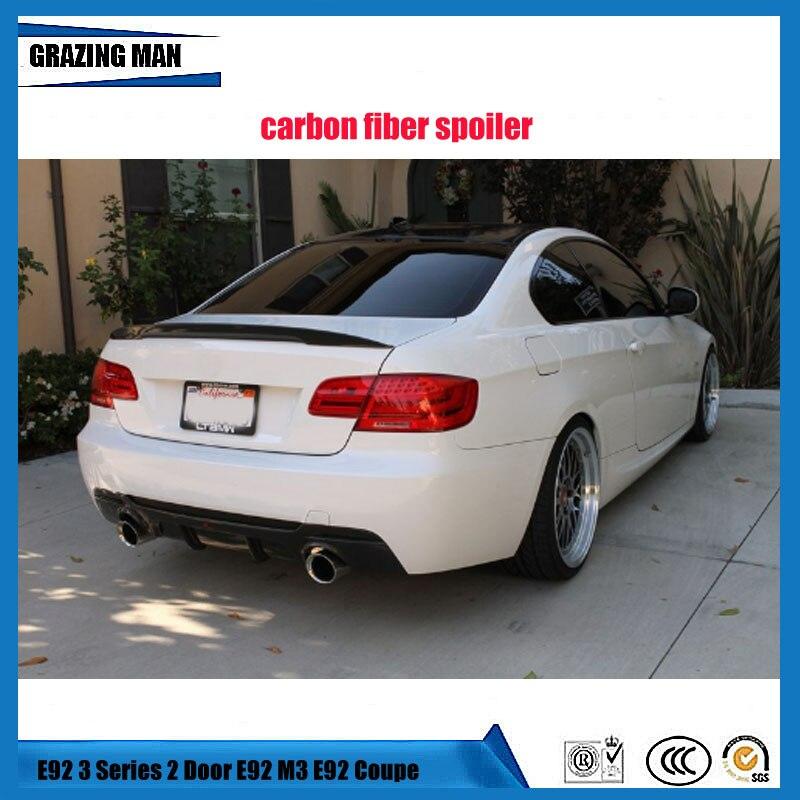 Ailes en carbone haute qualité pour BMW E92 Spoiler 3 série 2 portes E92 M3 E92 Coupe en fibre de carbone Style de Performance de voiture 2005-2012