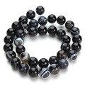 Envío Gratis Natural Negro Onyx Ágata Sueltas Perlas Redondas de Piedra 40 cm Cadena 6 8 10 12mm Para La Joyería Que Hace F2430