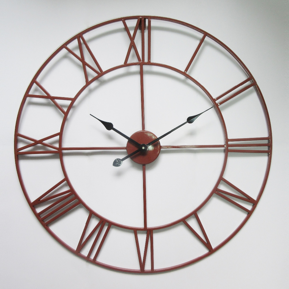 Vintage 76 cm 50cm large wall clock wrought metal industrial iron clock watch saat classic - Mondaine wall clock cm ...