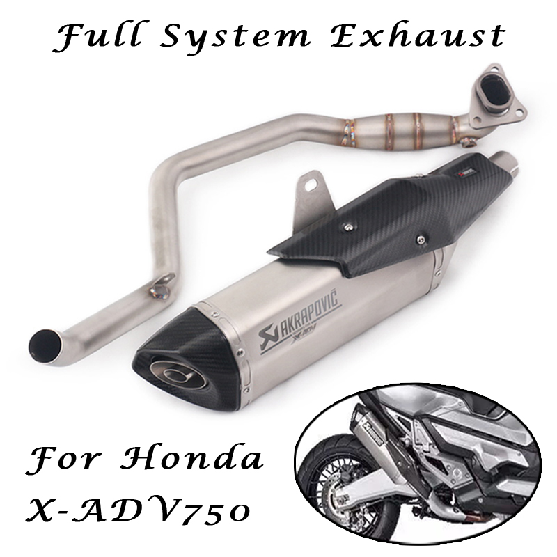 For Honda X Adv750 Adv 750 Motorcycle Full System Akrapovic Exhaust Muffler Modified Front Mid Link Pipe Laser Carbon Db Killer