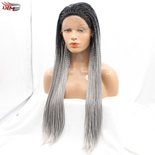 Braiding Hair Black to Grey 2T ombre Wig Long Straight Natural Micro Braided Wigs Synthetic Lace Front Wig for Black Women