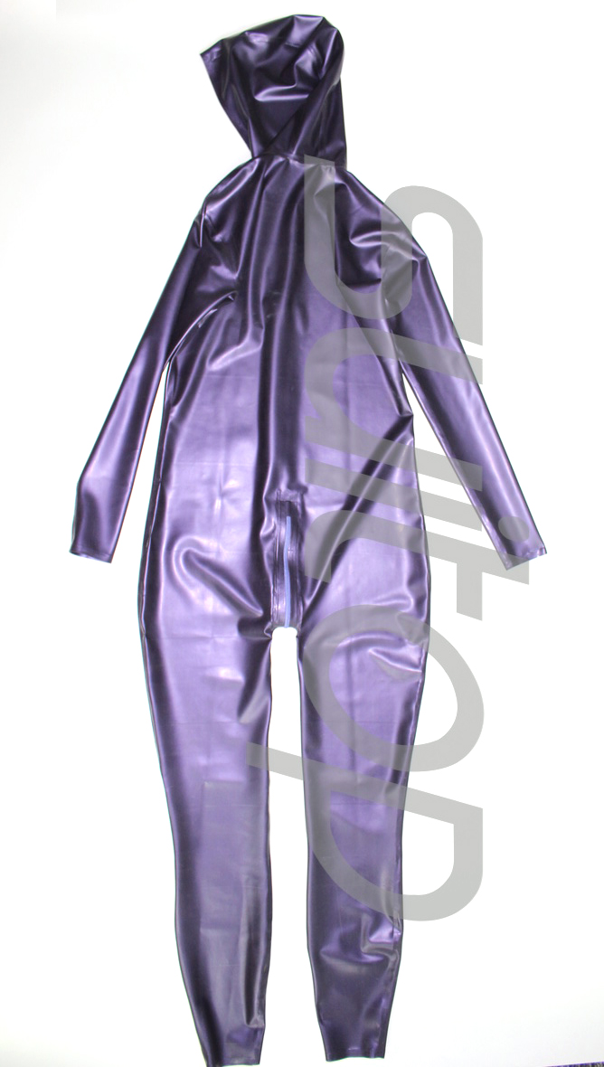 New arrived men's latex jumpsuit rubber catsuit with cap in metallic purple and gold
