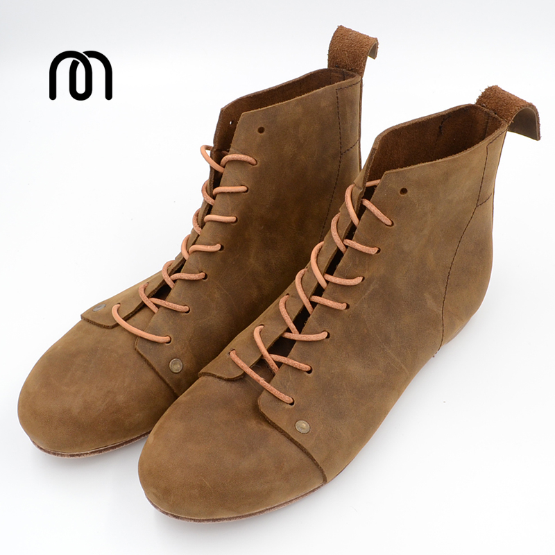 Фото Home work handmade crazy horse leather cowhide brief leather sole boots Vintage fashinal casual designer Unisex shoes