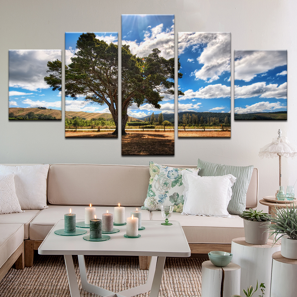 5 Panel Printed Tree Art Scenery Landscape Modular Picture ...