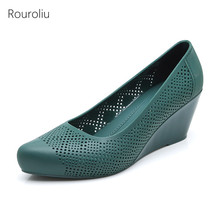 Rouroliu Women Pointed Toe Hollow Out Jelly Beach Sandals Non-Slip Waterproof Rain Shoes Wedges Shallow Casual FR118