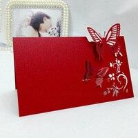 100 יחידות לייזר לחתוך כרטיסי מקום פרפר אדום שולחן צד מושב אורחים אירועי חתונה טובות אספקת קישוט מלאכת כרטיס שם
