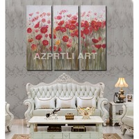 AZPRTLI Art Decorative Wall Painting Red Flower Paintings Modern Abstract Oil Painting Canvas Pictures for Living Room H002
